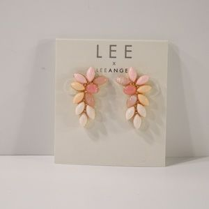 Lee by Lee Angel PInk Cabochon Leaf Earrings NWT